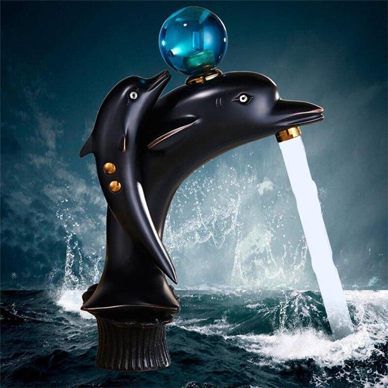 Becken Wasserhahn Messing Waschbecken Mischbatterie Hot & Cold Wasserhahn Deck Montiert Schwarz Öl Gebürstet Toilette Tap Delphin Wasser kran