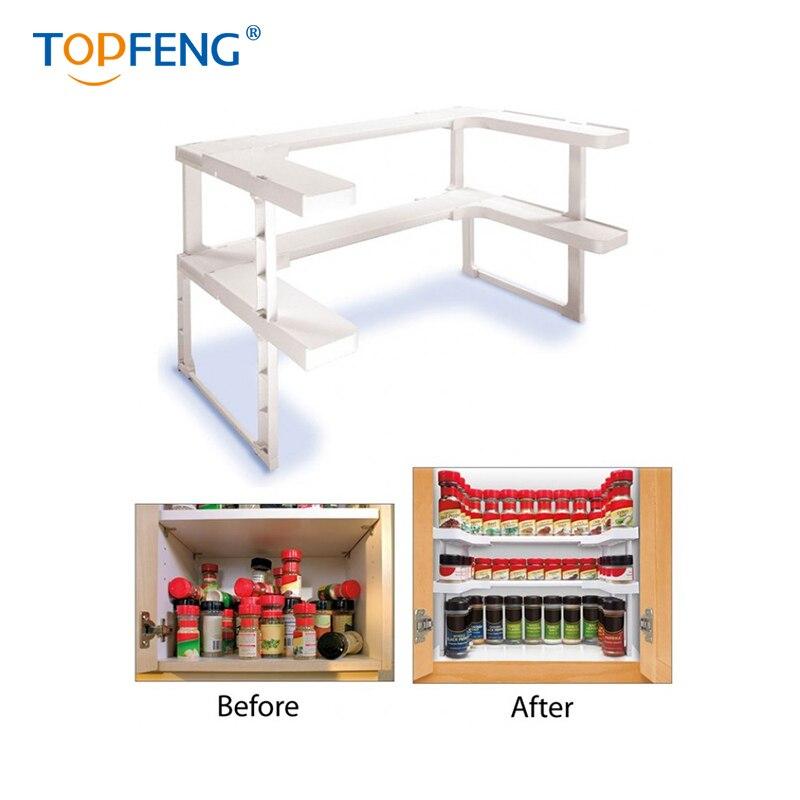 Estante de especias TopFeng, estante de especias, organizador apilable, estante de especias de cocina, organizador de baño, organizador de almacenamiento de cosméticos