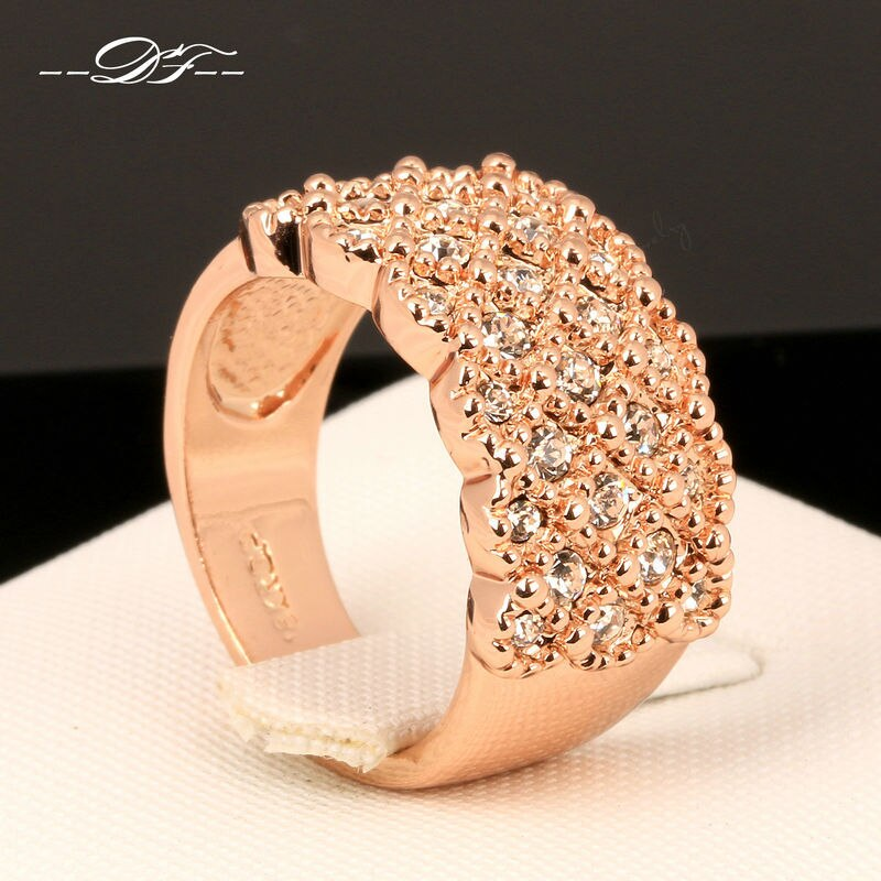 Micro pave cristal do vintage festa anéis de dedo rosa cor ouro moda marca austrilian cristal jóias para mulher dfr020