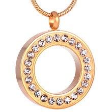 Breloque or Rose PVD plaqué couleur cendres cercueil urne cercle de vie avec cristal mémorial cendres souvenir crémation bijoux pendentif