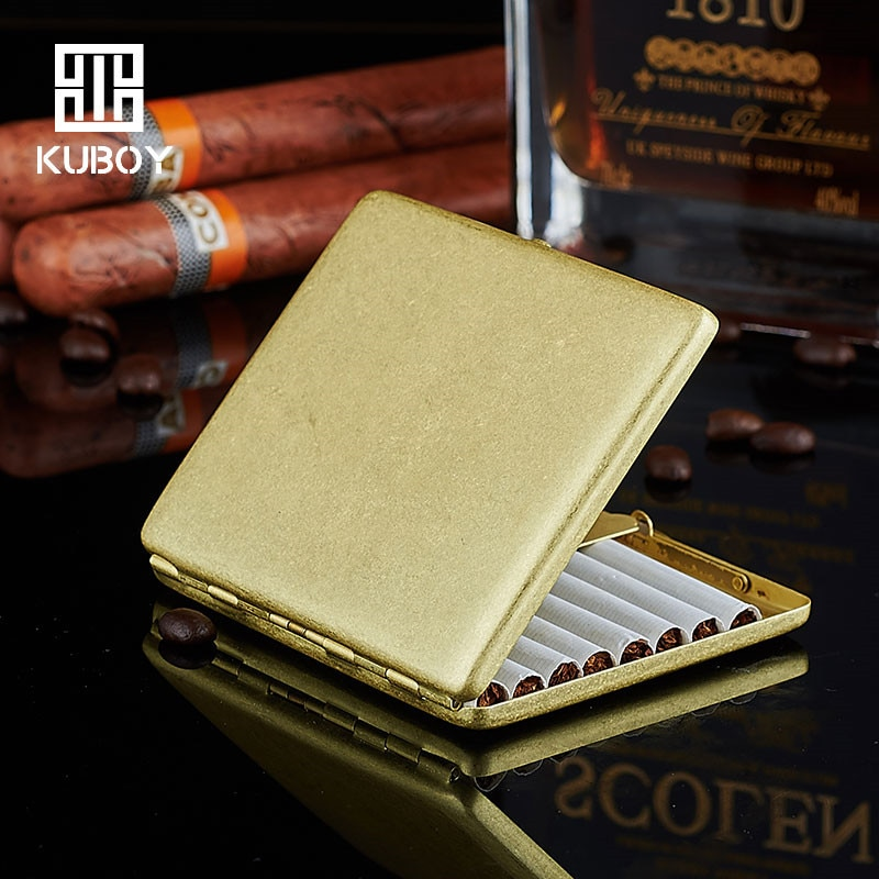 Hong kong Cigarreira Kuboy Ultra Fino Luxo Macho Latão Cigarro Bin Caixa De Armazenamento Serve 9 Cigarros