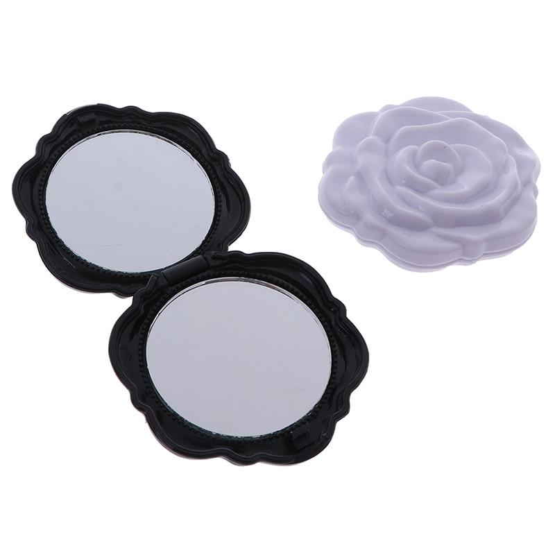 Nuevo diseño Mini Rosa flor maquillaje espejo compacto portátil niñas bolsillo espejo único regalo doble lado maquillaje espejo