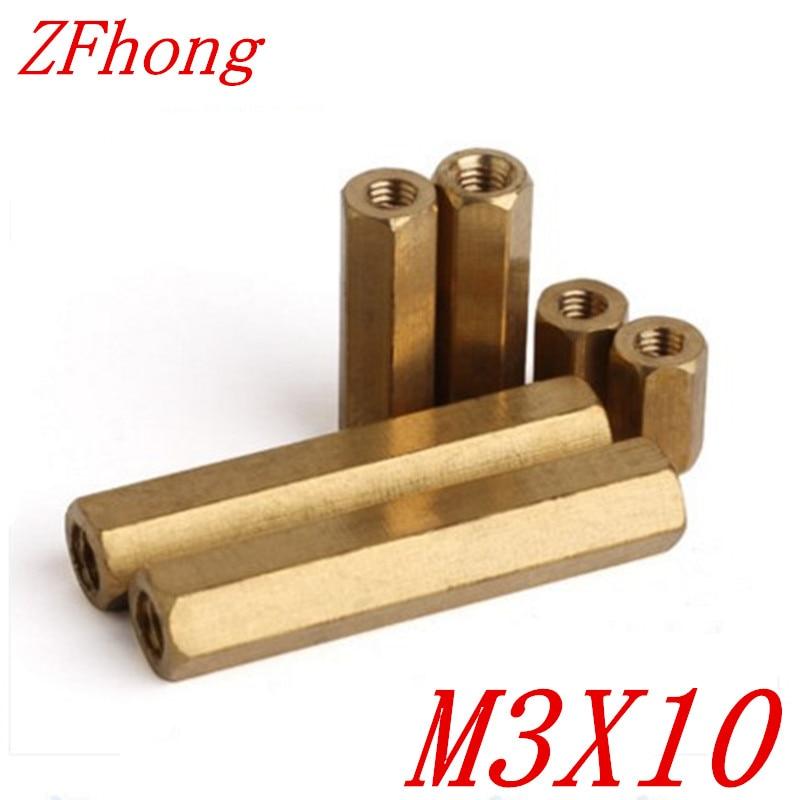 Латунные Болты-разделители с шестигранной резьбой, 1000 шт. M3 * 10 m3 x 10
