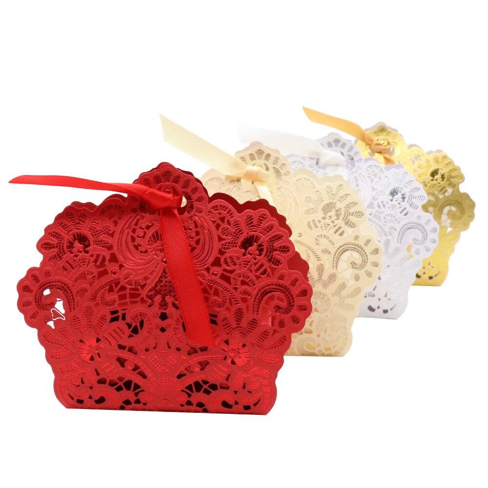 50 Uds. Caja de dulces de flores de papel, Chocolates, bolsas de galletas, Cajas de Regalo para Baby shower, regalos de cumpleaños con cinta dorada/roja/blanca