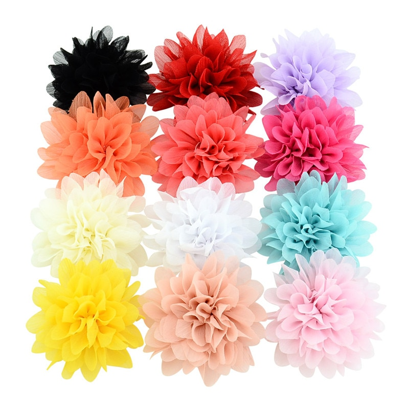 """UNTAMED приблизительно 4 """"шифона цветочные шпильки детские волосы зажим для девочек заколки для волос головные уборы аксессуары для волос"""