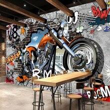 3D duvar resmi Kişiselleştirilmiş Özelleştirme Motosiklet Sokak Sanatı Grafiti Duvar Kağıdı Cafe KTV Bar çocuk Odası Duvar Kaplama Freskler
