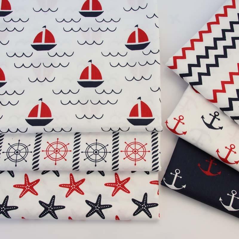 100% cotton twill marine style black red sailboat rudder chevron starfish anchor fabrics for DIY bedding cushion handwork decor