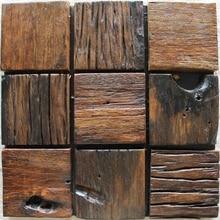 big square wood mosaic rustic wood backsplash tile block ancient wood mosaic panels mesh backing wall and floor
