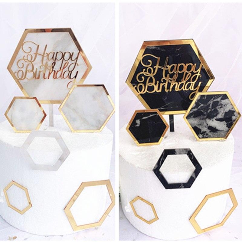 Nuevo in mármol adorno acrílico para pastel hexágono oro Topper para tarta de feliz cumpleaños para niños cumpleaños adornos de pastel de fiesta Baby Shower