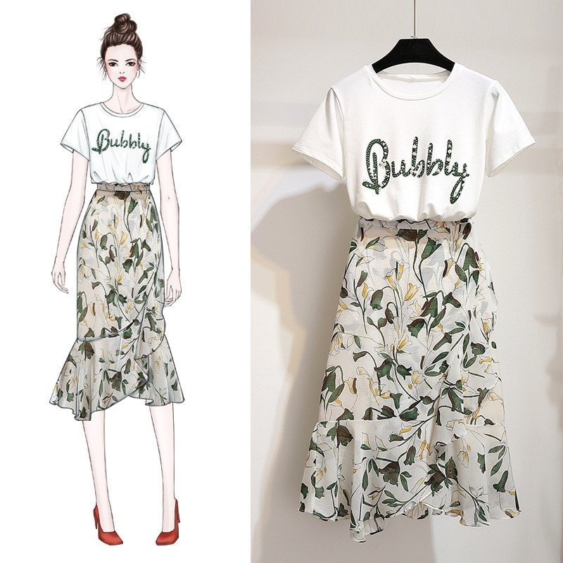 ICHOIX S-XL conjunto de 2 piezas para mujer 2020 ropa de mujer conjunto de falda de 2 piezas traje de playa y falda Camiseta de algodón estampada