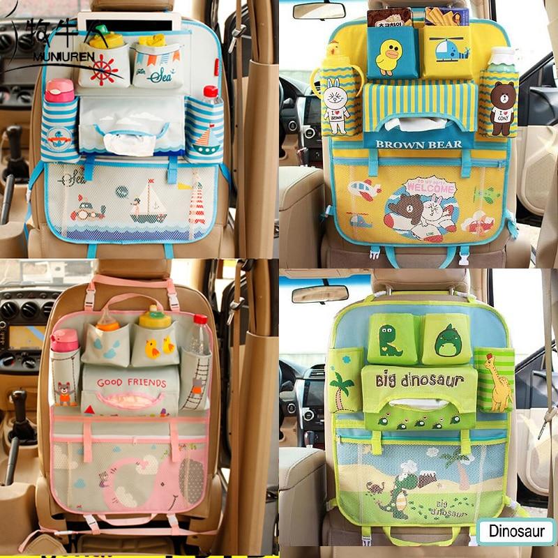 Bolsa de almacenamiento para asiento trasero con dibujo de oso velero organizador de coche soporte colgante Multi bolsillo bolsas de viaje estilo de coche para niños