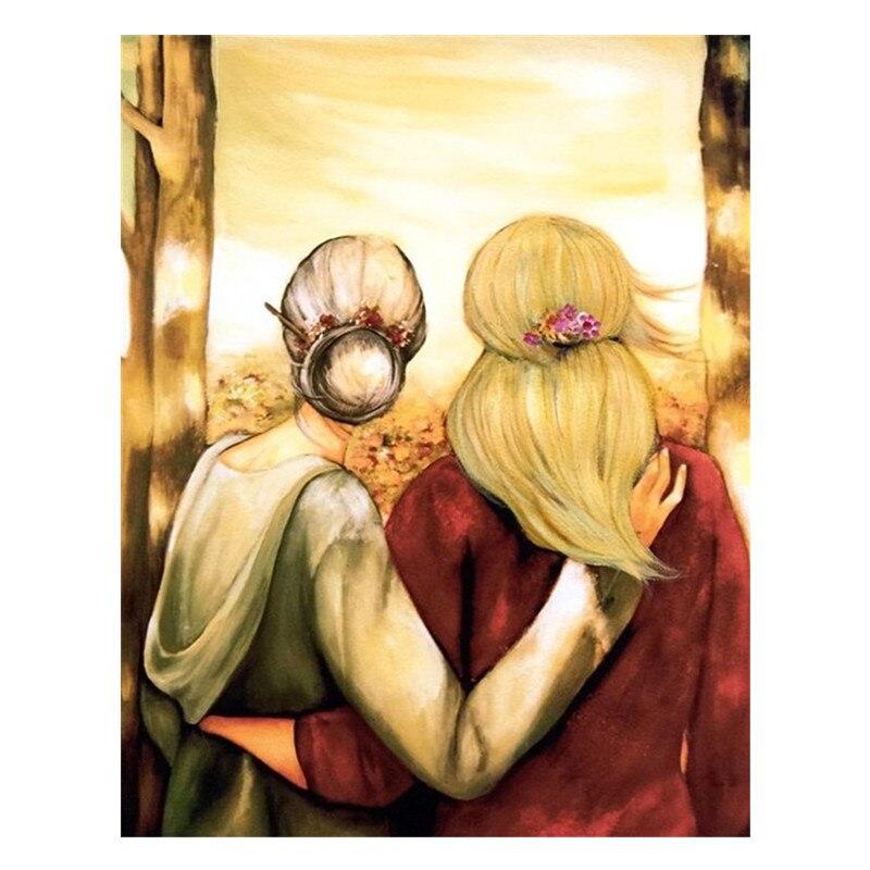 Pintura de diamantes redondos 5D con bordado de diamantes, la mejor madre e hija, punto de cruz, mosaico completo cuadrado, bordado, decoración del hogar