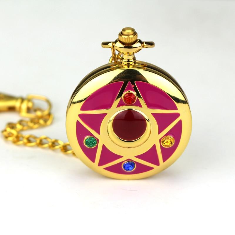 Llavero con reloj de bolsillo de Sailor Moon de Anime japonés, reloj de bolsillo de cuarzo, colgante dorado de dibujos animados de Sailor Moon para seguidores, regalos de disfraz