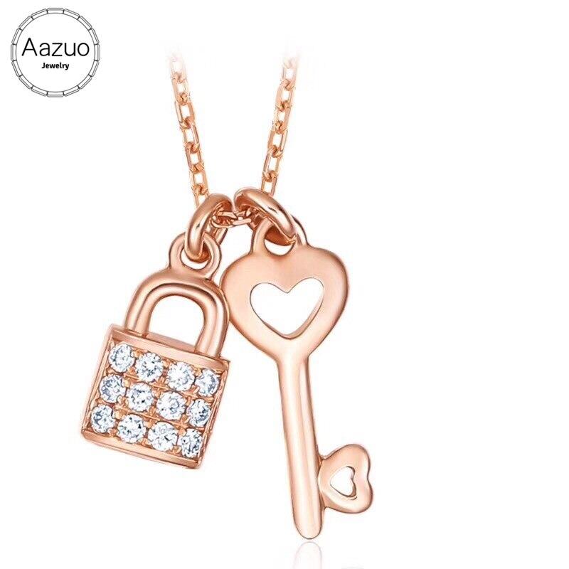 Aazuo 18K oro rosa Diamante Real encantador corazón llave bloqueo gratis colgante collar para mujeres compromiso boda enlace cadena 45cm
