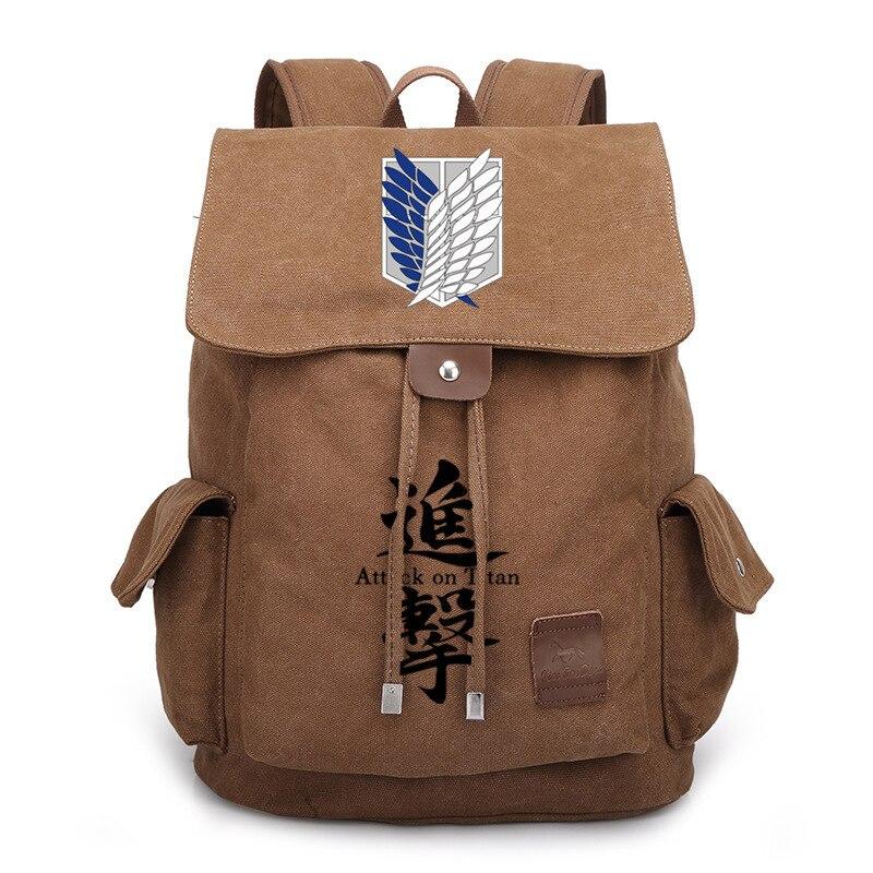 حقيبة ظهر من القماش الكتاني برسومات كرتونية هجوم على تيتان ، حقيبة كتف ، حقيبة سفر غير رسمية ، حقيبة ظهر للكمبيوتر المحمول