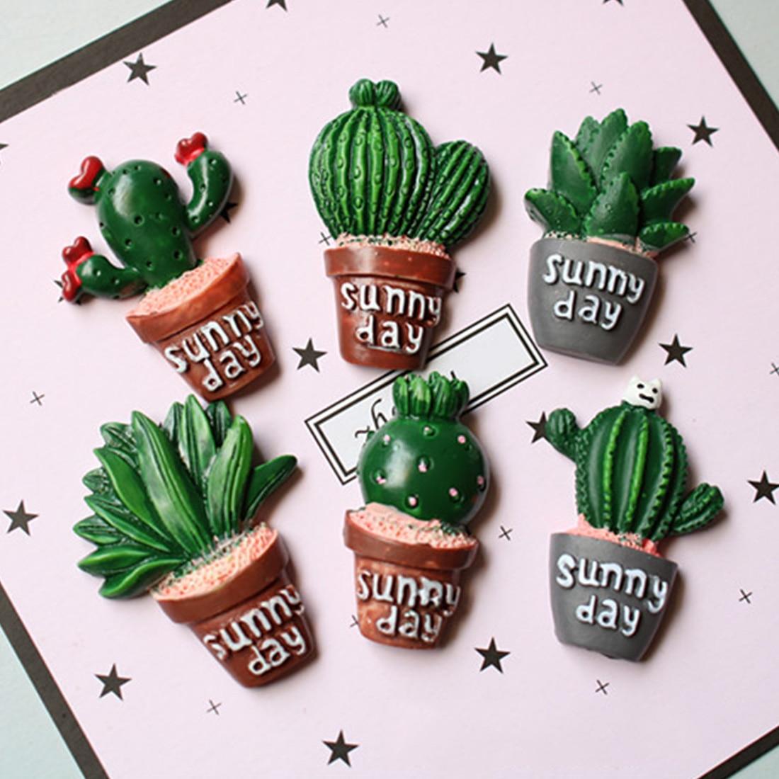 Cactus nevera pegatina flor suculenta planta nevera maceta planta para la decoración de la pared del hogar sala de estar