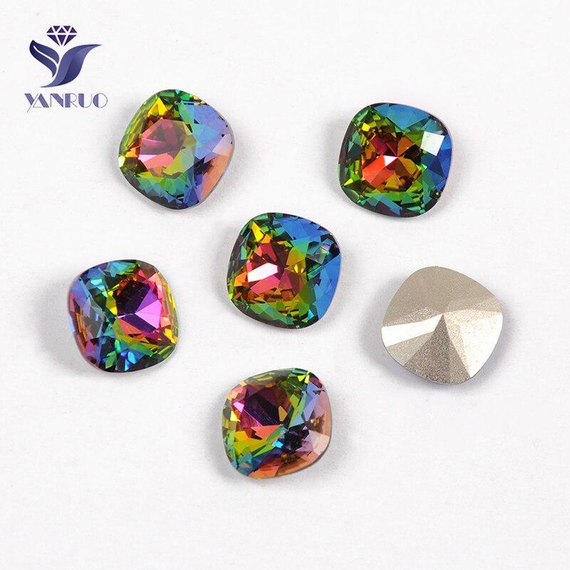 YANRUO 4470 cojín Super Crystal Vitrail medio coser en vidrio Rhinestones Pointback cuentas piedras para Zapatos Ropa de boda