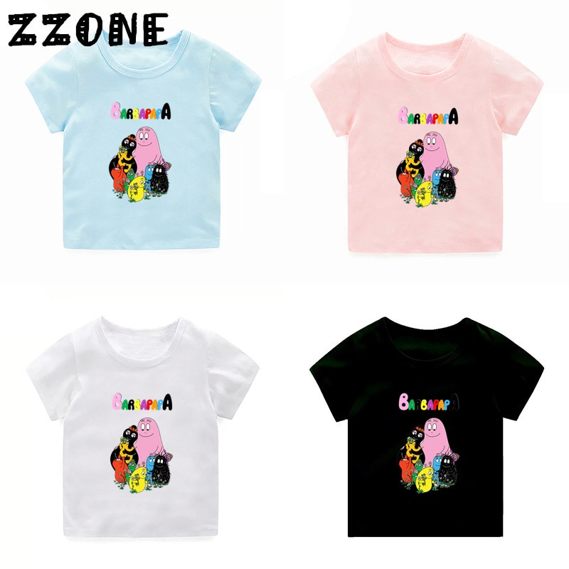 Camiseta bonita con estampado de dibujos animados de Barbapapa para niños y niñas, camiseta de manga corta de verano para bebé, ropa informal para niños, 5162B