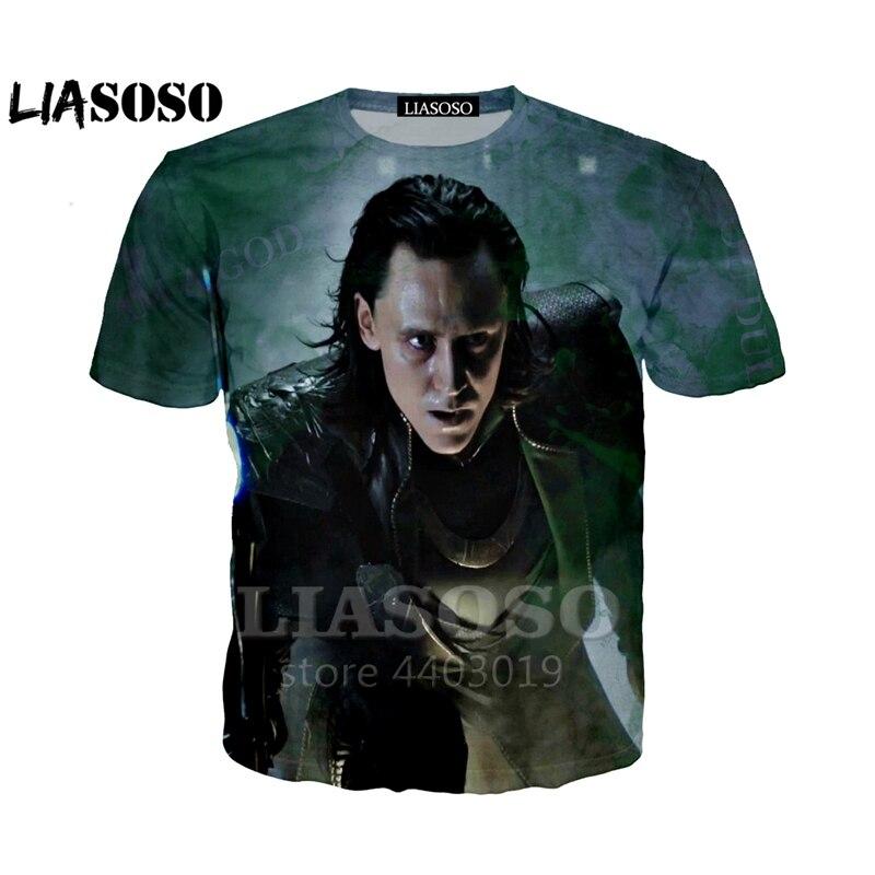 LIASOSO 2018 3D imprimir mujeres hombres vengadores Thor el mundo oscuro Loki camiseta de verano camiseta Hip Hop Pullover manga corta As34