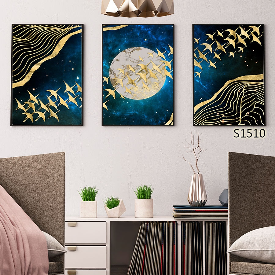 Dorado Geese Luna estrellada noche azul oscuro galaxia lineal Misterio infinito tranquilidad hogar arte decoración lienzo pared pintura claro HD