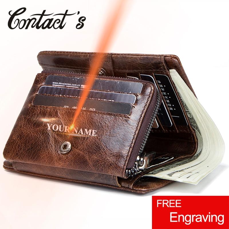 Cartera de cuero genuino para hombre de Contact, monedero de diseño de marca para hombre, tarjetero de crédito, billetera delgada de tres pliegues, bolso de mano Vintage