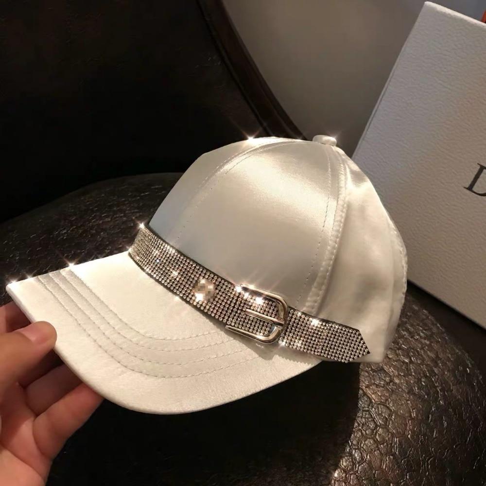 01902-26-38659 2019 new Satin sheen  Flash drill webbing ribbon  visors cap MEN women leisure baseball  hat