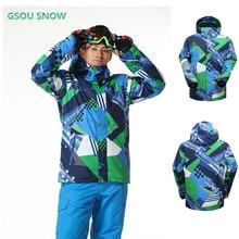 Gsou snow winter Brand For men ski suit super warm clothing Ski Sport snowboard jacket windproof Waterproof10K