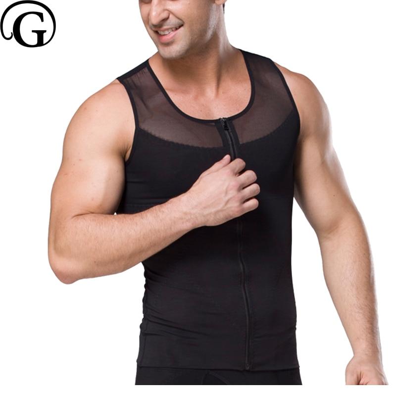 PRAYGER 100pcs Wholesale Men Gynecomastia Body Shaper Slimming Boobs Control Tummy Shaper Tops Zipper Hold Abdomen Undershirt