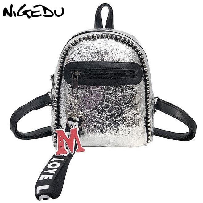 NIGEDU mini sac à dos femmes cuir sacs à dos argent/noir/voyage/mode/femme/étudiant sac à dos petit sac à dos femmes 2019