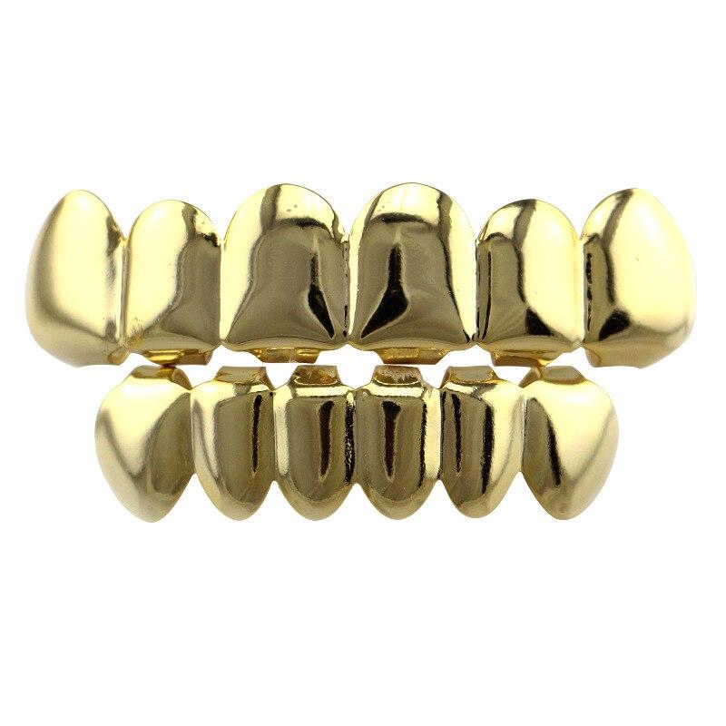 Grills brilhantes dentes boné conjunto de ouro preto grillz dentes parte inferior superior conjunto bling hip hop jóias