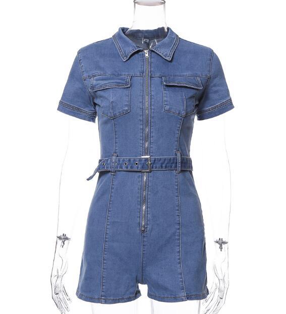Moda High Street azul profundo cuello pico frontal bolsillos con cremallera Slim Fit mujer mono mezclilla con cinturón