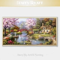 high skills artist hand painted high quality colorful landscape lake oil painting on canvas beautiful country home oil painting