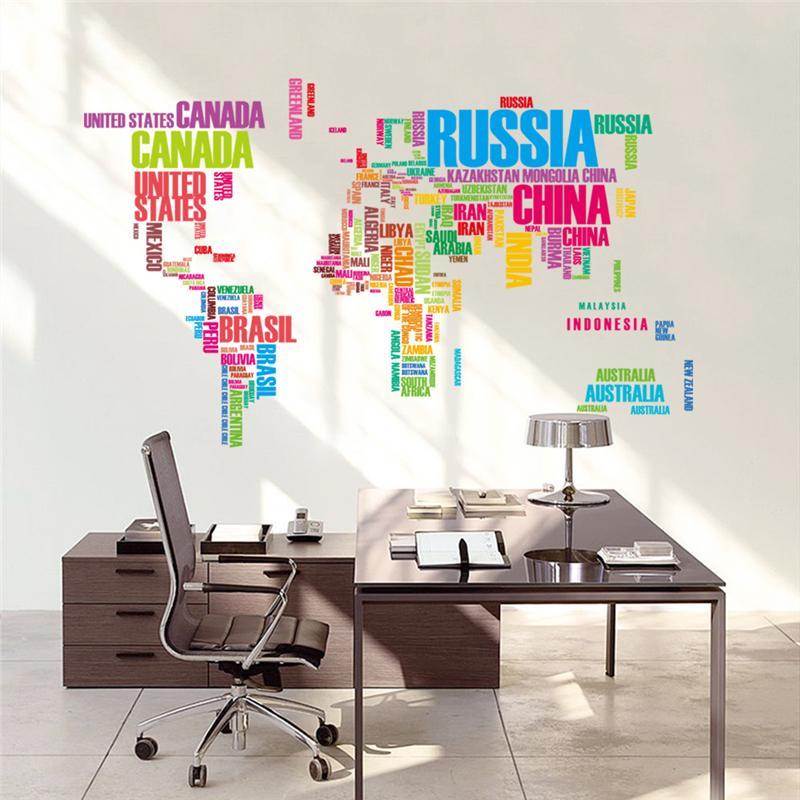 Colorful Inglês Nome Do País Mapa Do Mundo Adesivo De Parede Para Escritório Loja Sala de estar Home Decor Mural Art adesivos de Parede Diy Pvc decalque