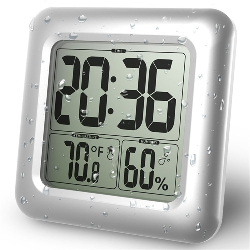 Temporizadores Digital LCD Relógio Com Otário Parede Do Banheiro À Prova D Água Para Salpicos de Água Lavar Chuveiro Relógios Temporizador De Temperatura E Umidade