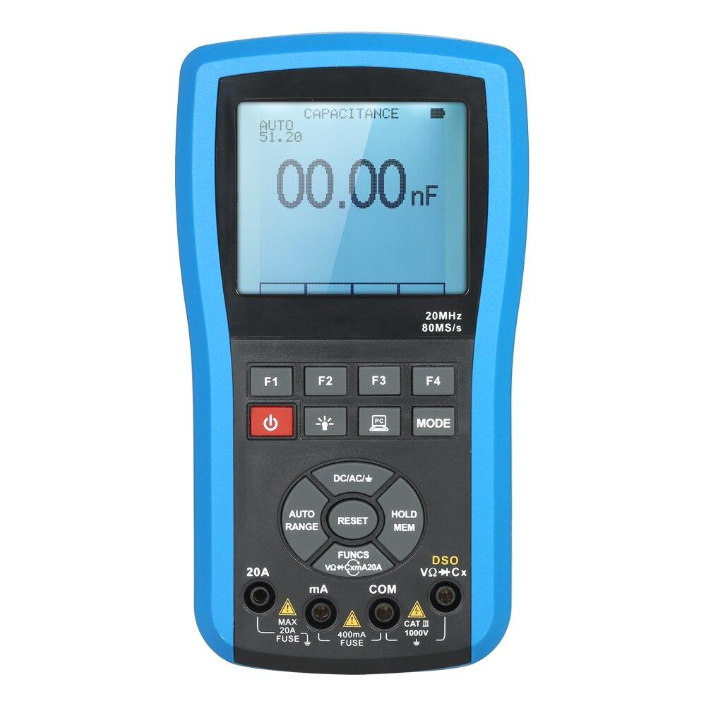 Osciloscopio de almacenamiento Digital profesional medidor de alcance DSO multímetro de valores eficaces verdaderos rango automático/Manual con onda de comunicación USB