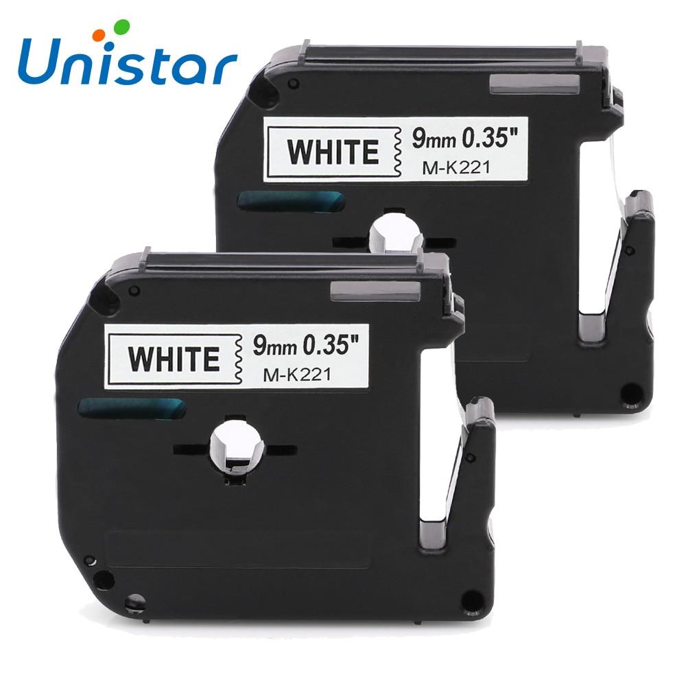 Unistar 2 uds Compatible Brother p-touch M Tape M221 M-K221 MK221 negro sobre blanco etiqueta cinta para Hermano P touch Label Maker PT-90