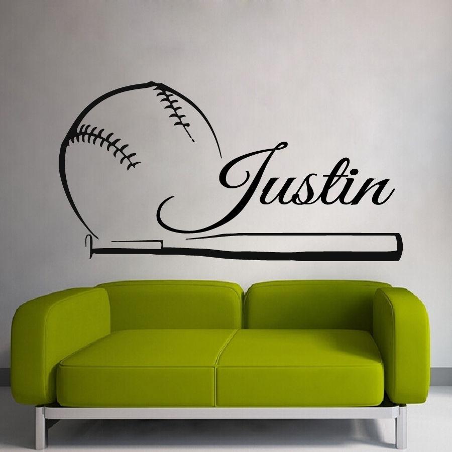 Etiqueta engomada de béisbol nombre deportes calcomanía pósters vinilo calcomanías de pared pepatina Quadro Parede decoración Mural etiqueta engomada de béisbol