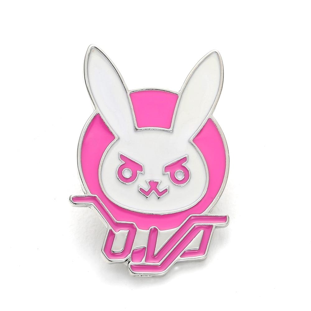 Overwatch Game Dva Rabbit Bunny Metal Pin Pink Trendy Jewelry Diva Bunny Hard Enamel Pin for Cosplay Costume Girl Accessory