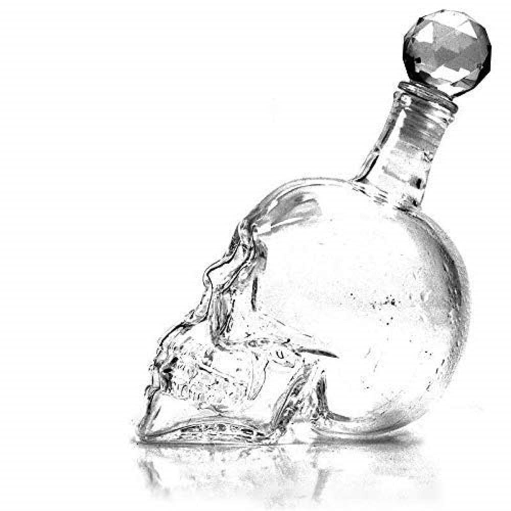 YUEWO Decanters كريستال الجمجمة رئيس النار دورق النبيذ الزجاجي حفلة شفافة الشمبانيا الكوكتيلات زجاجة قهوة البيرة