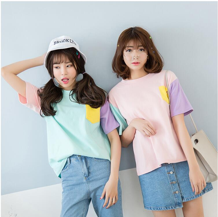 Kpop verano EXO ropa WU Shixun algodón cuello redondo color fight Camiseta de manga corta casual coreano suelta Harajuku mujeres camiseta