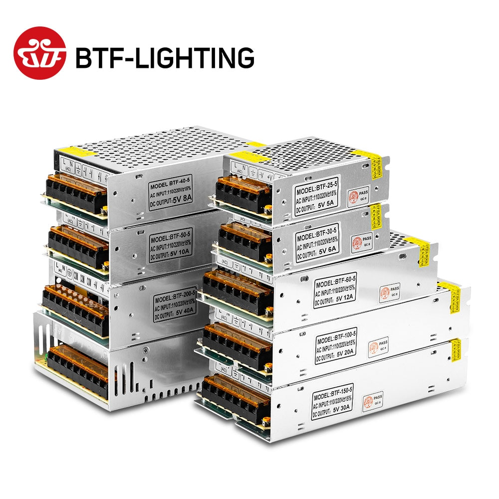 DC5V 2A 3A 4A 5A 8A 10A 12A 20A 30A 40A 60A Switch LED Power Supply Transformers Adapter WS2812B WS2