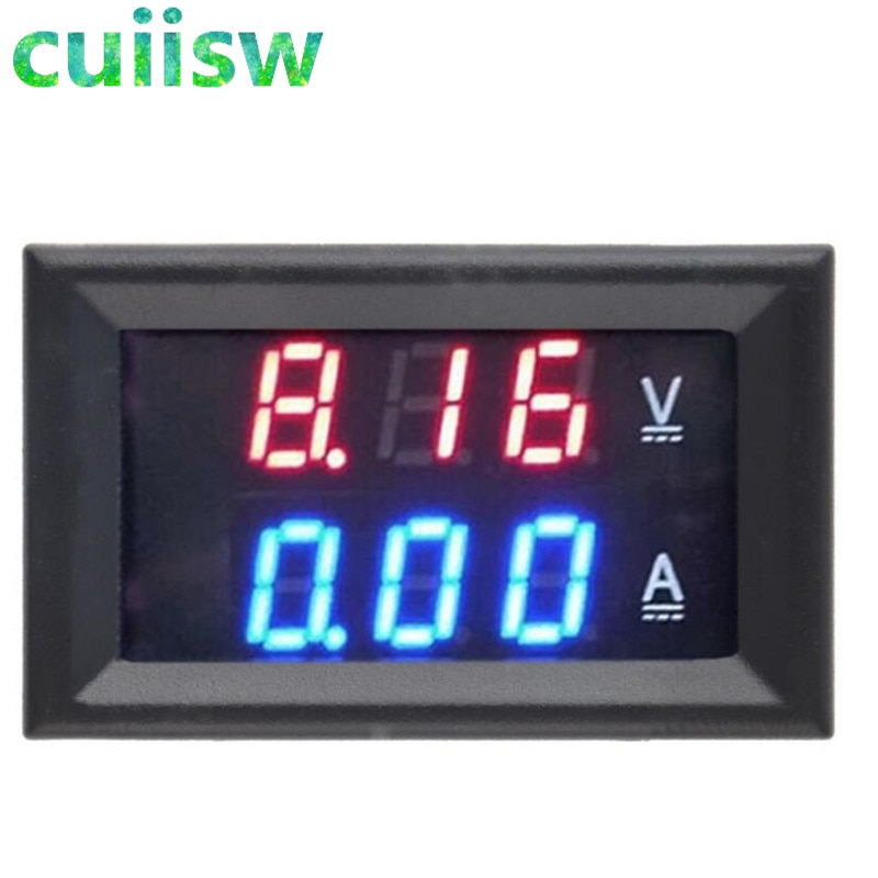 Amperímetro voltímetro DC 0-100V 10A rojo + azul LED Amp doble digital medidor de voltímetro pantalla LED amperímetro indicador de voltaje