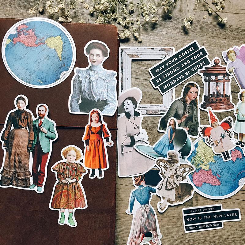 19 Teile/paket Vintage Eintagsfliegen Familie Brief Aufkleber DIY Handwerk Scrapbooking Album Journal Planer Dekorative Aufkleber Paket