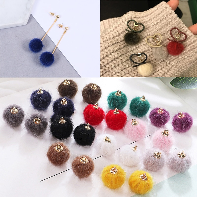 10pcs Fashion Colorful Mink Hair Fur Fan Shape Tassel Charm Round Plush Pompom Ball Beads Pendant for DIY Earring Jewelry Making