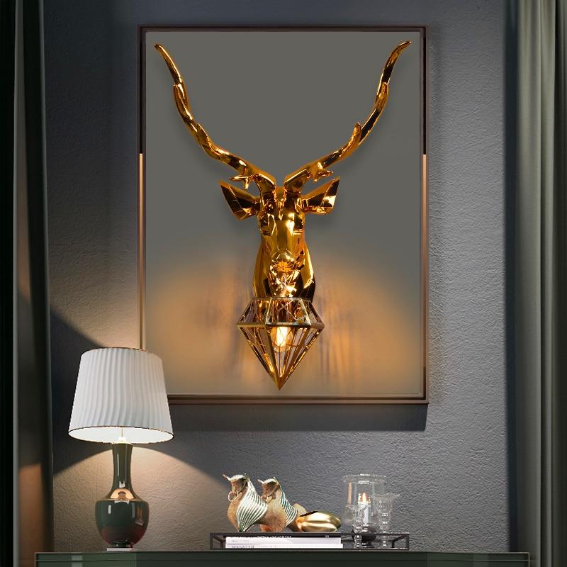 American Wall Lamps Retro Deer Bathroom loft Antlers Wall Light Living Room Bedroom Deco Art Sconce Bedside Wall Lights for Home