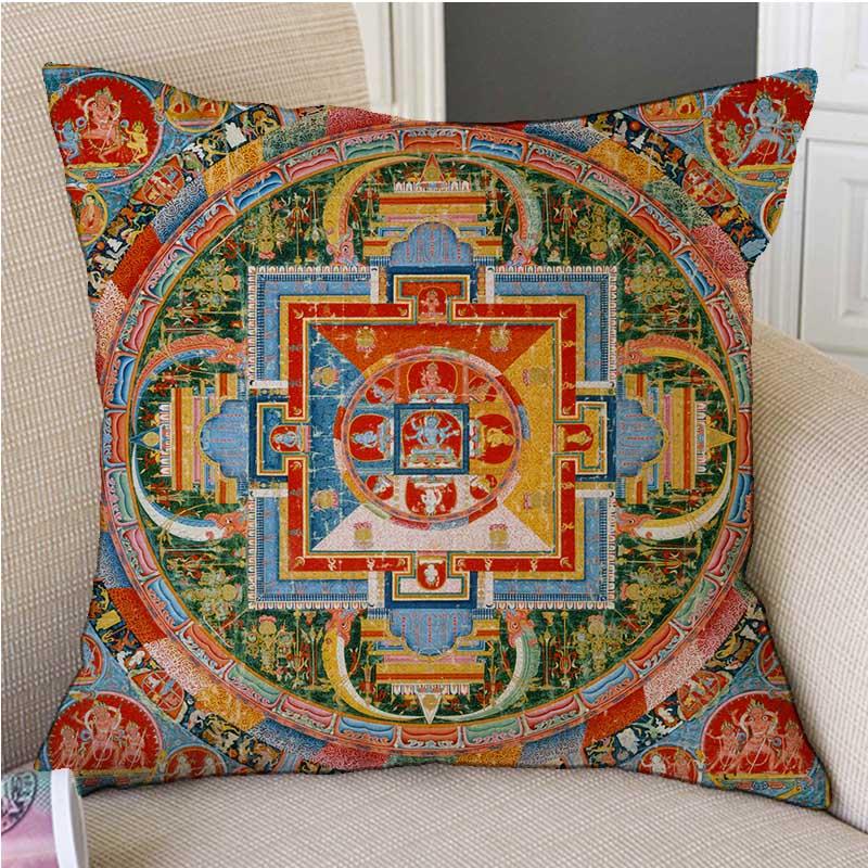 "18"" Tibetan Buddhism Mandala Wall Painting Art Worship Decorative Pillow Case Mysterious Antique Buddhist Cultural Cushion Cover"