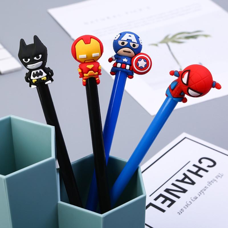 Cute 0.5mm Super Hero Spiderman Captain America Iron Man Gel Pens Student Writing Signature Pens Korean Stationery