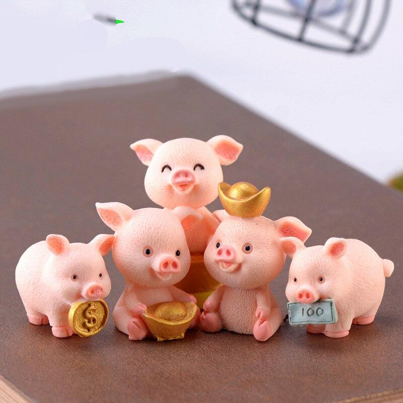 ZOCDOU 1 Piece Pig Cartoon Wealth Pigling Money Piglet Cerdo Small Model Statue Figurine Crafts Ornament Miniatures Decoration