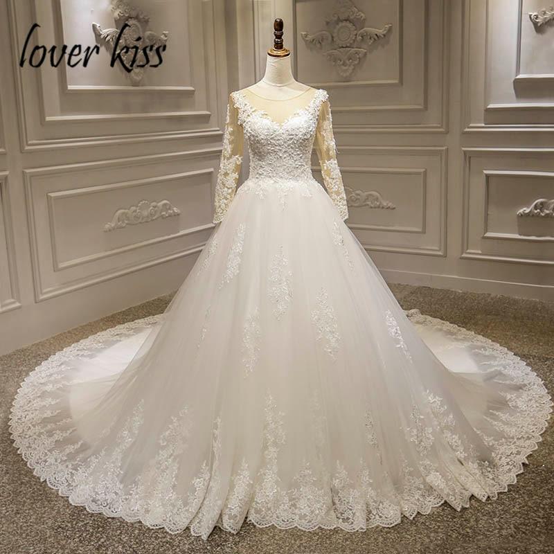Lover Kiss-فستان زفاف من الدانتيل الفاخر ، بأكمام طويلة ، مطرز ، ثوب كرة ، 2021