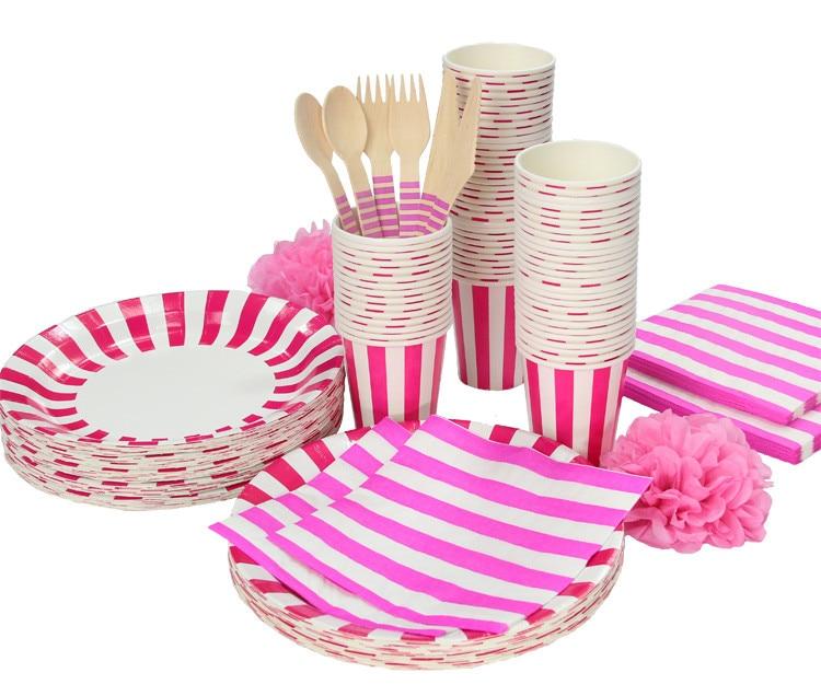 Venta de liquidación, adorable vajilla de fiesta a rayas, plato de papel para fiesta de cumpleaños, tazas, servilletas, juego de cubiertos de paja de papel